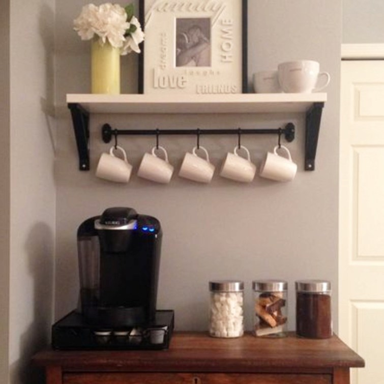 small coffee bar / coffee area against the wall in my kitchen