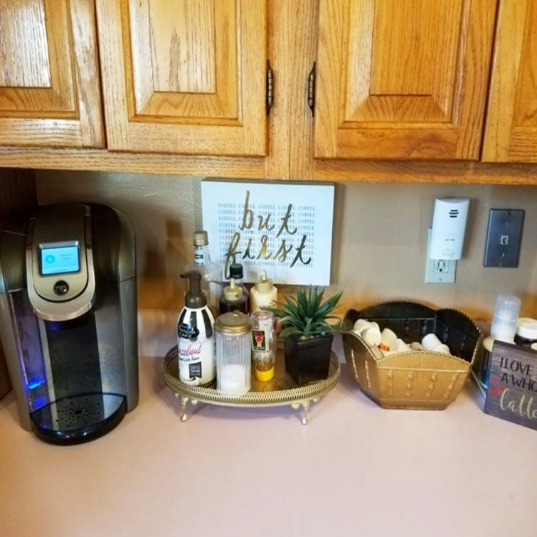 DIY kitchen decorating ideas - cute small coffee area on the counter in my tiny condo kitchen