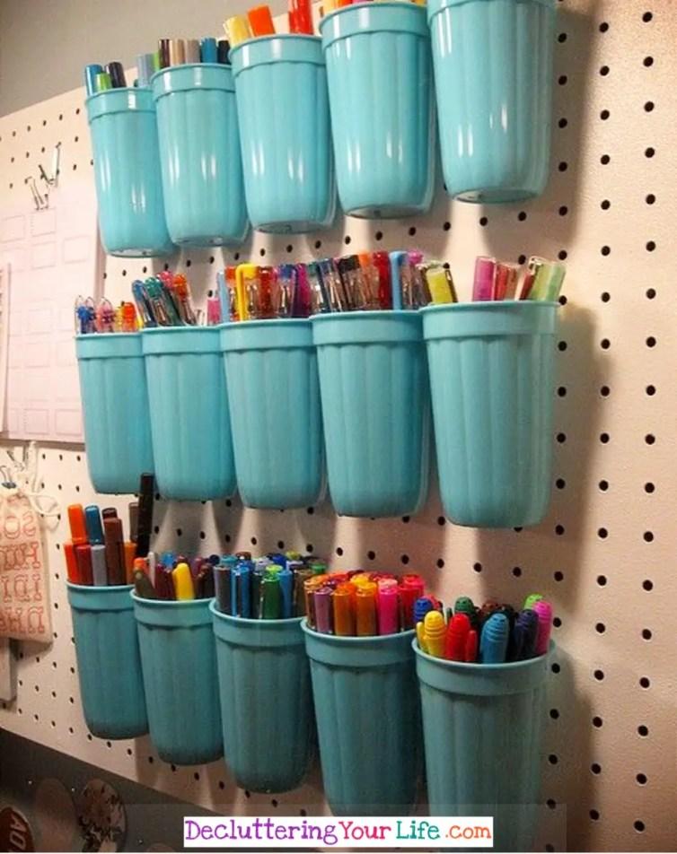 Craft Room Wall - DIY Peg Board Wall organizer for Craft Supplies - Craft Room Organizing Ideas - Easy ways to organize craft supplies on a budget #gettingorganized #goals #organizationideasforthehome