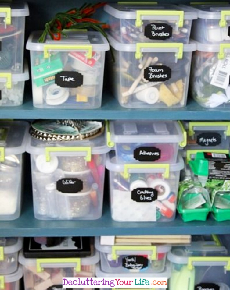 Sorting Craft Supplies into Categories with Clear Bins with Labels - Craft Room Organizing Ideas #gettingorganized #goals #organizationideasforthehome