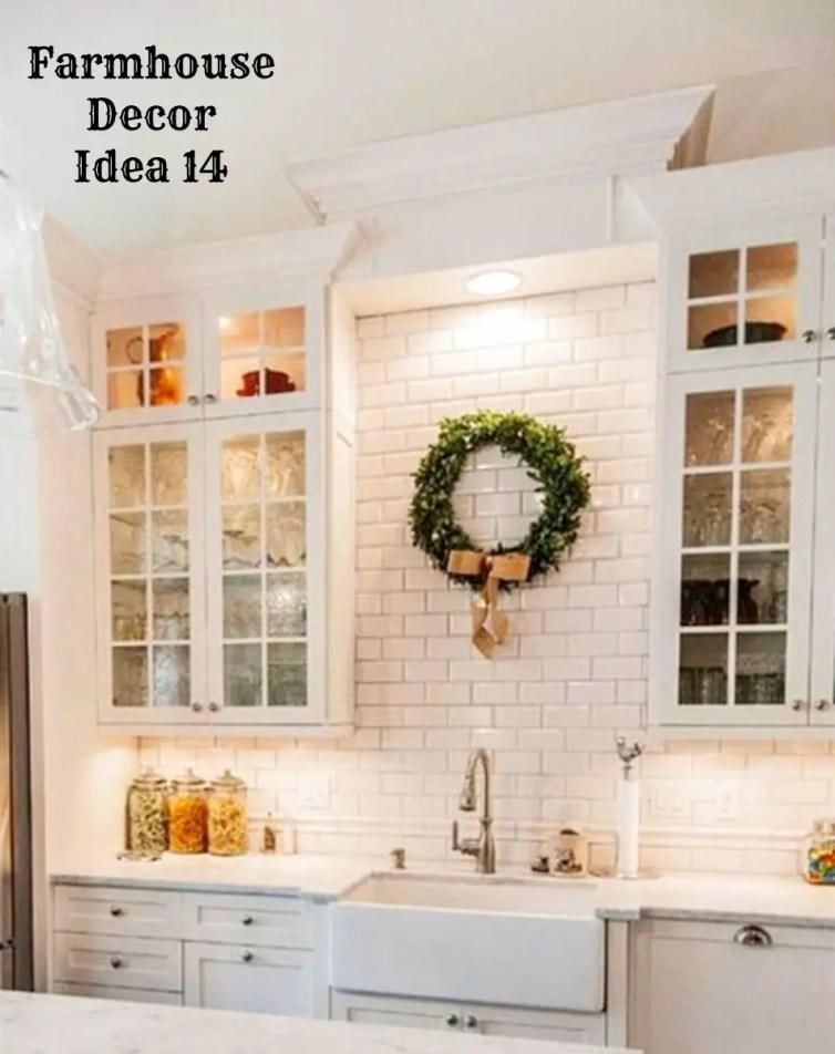 Modern farmhouse kitchen design and decorating idea - love the white cabinets and white subway tile - Clutter-free Farmhouse Decor Ideas