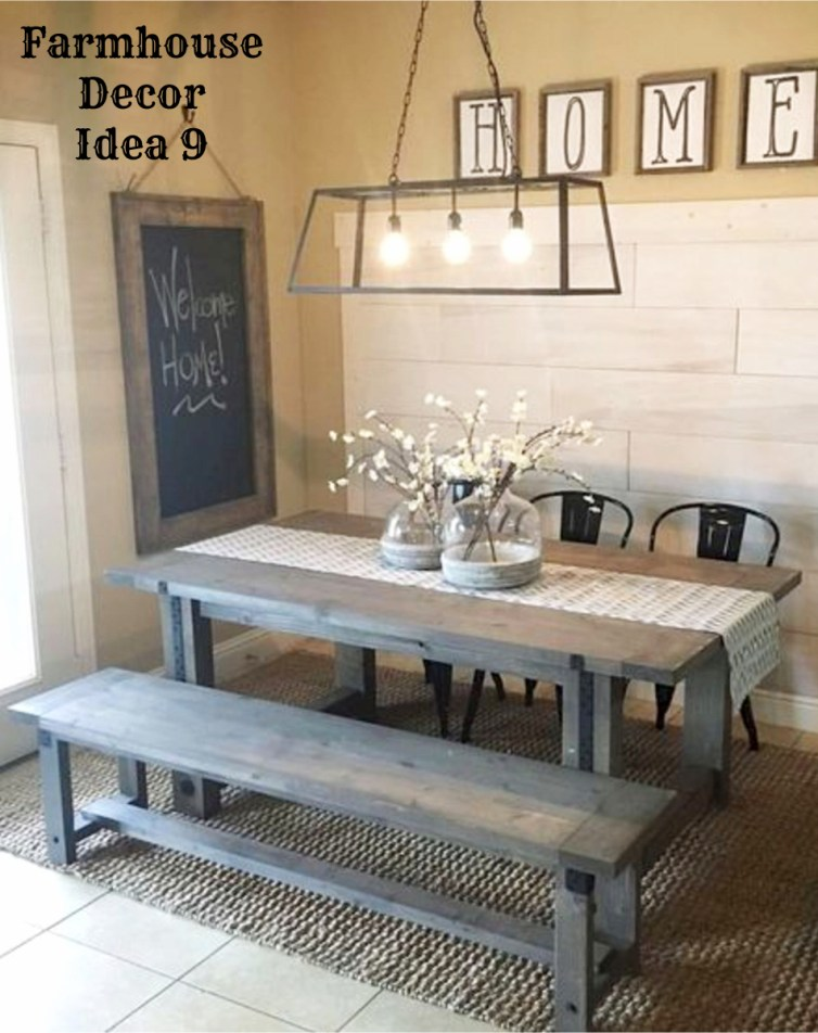 Farmhouse dining room - love the rustic table and benches!  Clutter-free Farmhouse Decor Ideas