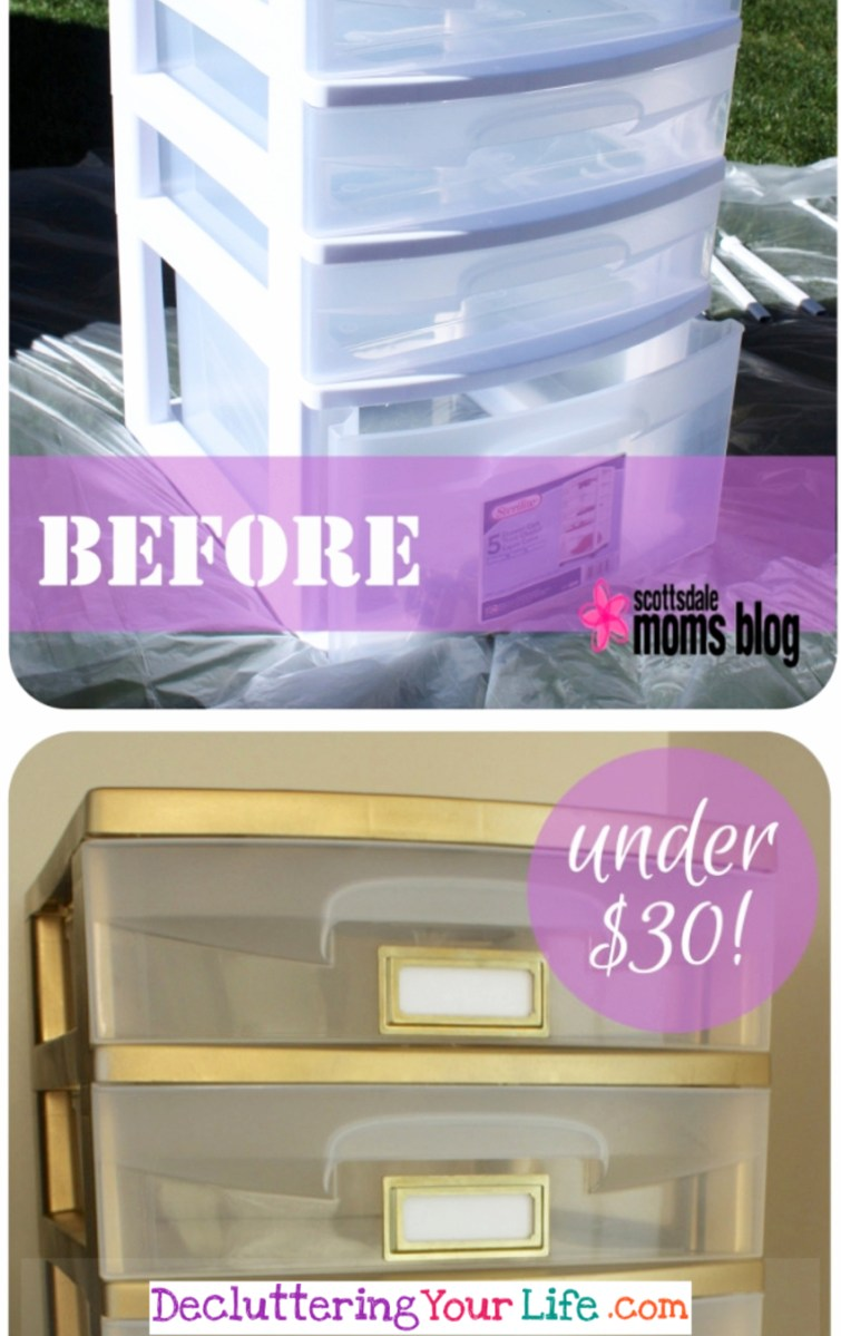 Creative spray paint projects - home decor and organizing on a budget - spray pain cheap plastic drawers