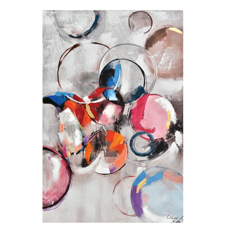 tableau contemporain design cercles colores toile design 80x120