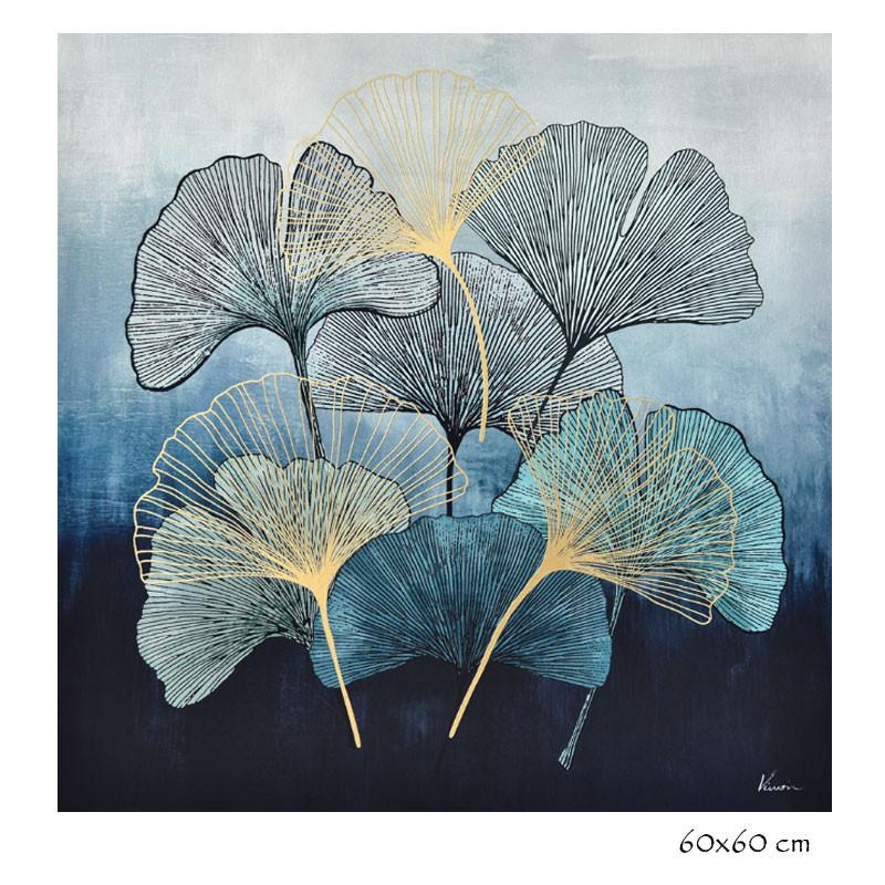 feuilles de ginkgo biloba bleu tableau contemporain floral