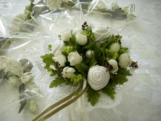 EDLE Tischdeko Blumen Rosen Blten weiss grn