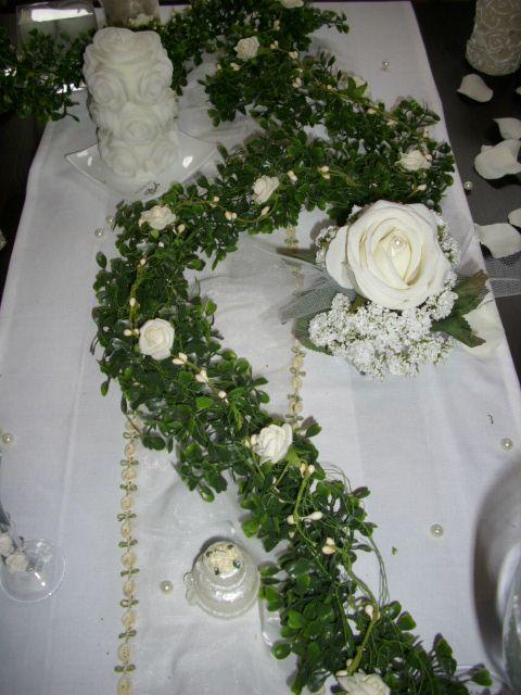 Girlande Buchs 200cm Rosen weisscreme Tischdeko