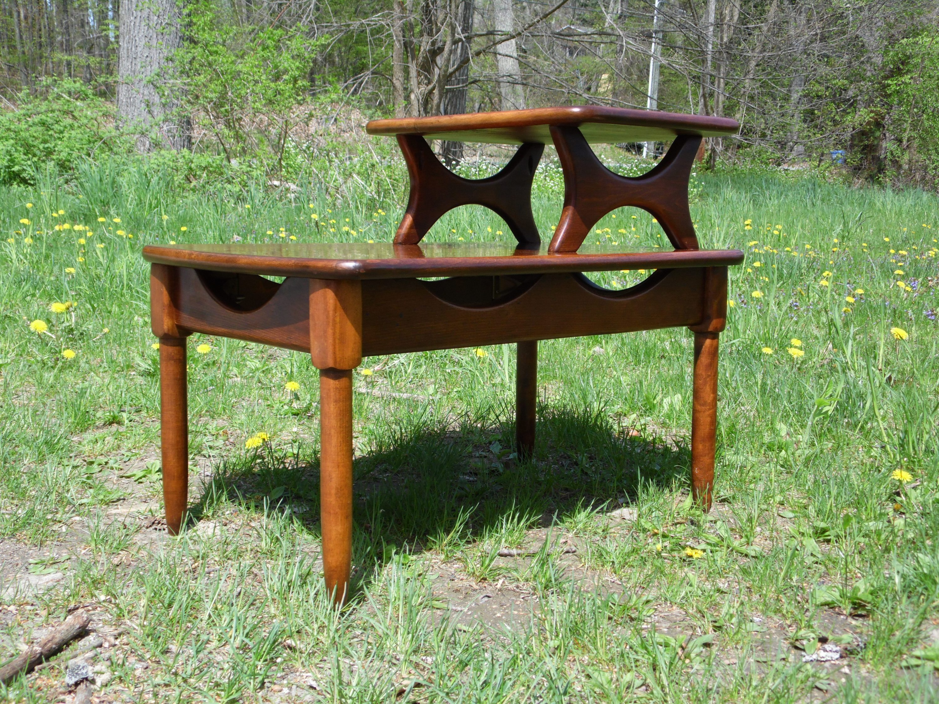 Mid Century Modern Step End Table Two Tier Sculptural