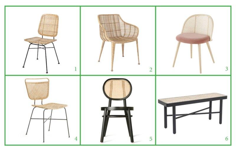 Muebles de rejilla: sillas de comedor