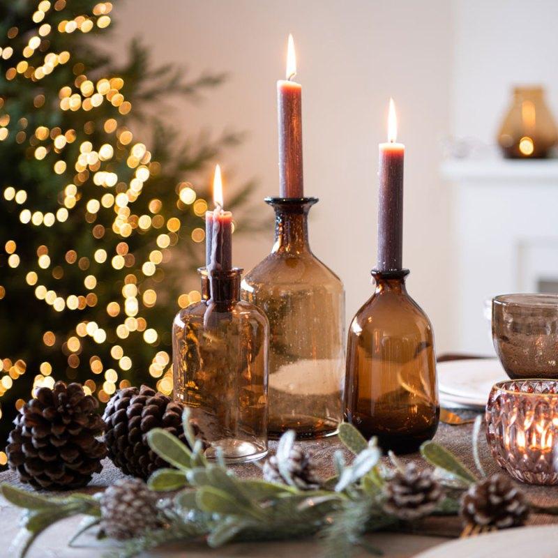 Decorar la mesa de Navidad con velas