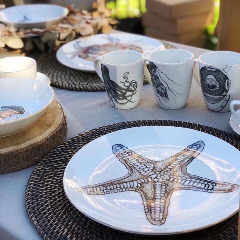 Platos de porcelana decorados con estrellas de mar