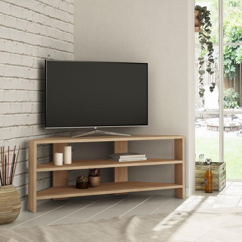 meuble tv d angle design scandinave thales l 114 x h 45 cm marron decoandgo