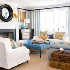 Denim Living Room Furniture Oversized Couches Decoart Blog Trends Home Decor Trend There Are Definitely Some Traditional Touches In This Featured At Better Homes Gardens Like The Damask Print Cocktail Ottoman