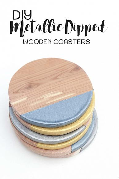 Decoart Blog Crafts Metallic Dipped Wooden Coasters