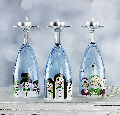 Wine Glass Christmas Candleholders  Project by DecoArt