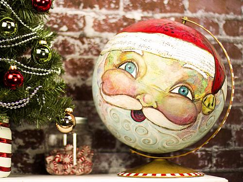 Santa Claus Mixed Media Globe Project By DecoArt