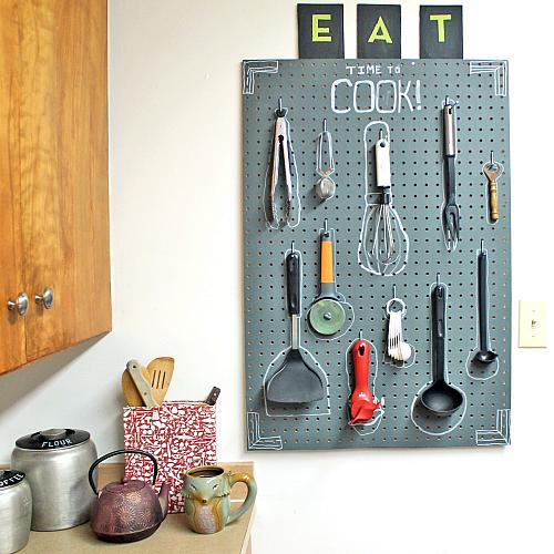 kitchen pegboard affordable outdoor kitchens chalkboard organizational project by decoart