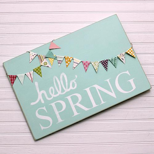 Hello Spring Bannered Wooden Sign  Project by DecoArt