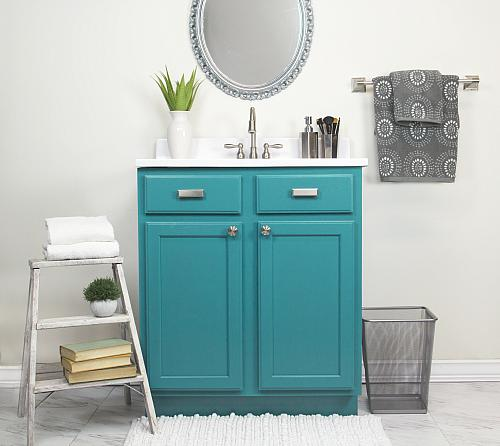 Bathroom Vanity Satin Enamel Update  Project by DecoArt