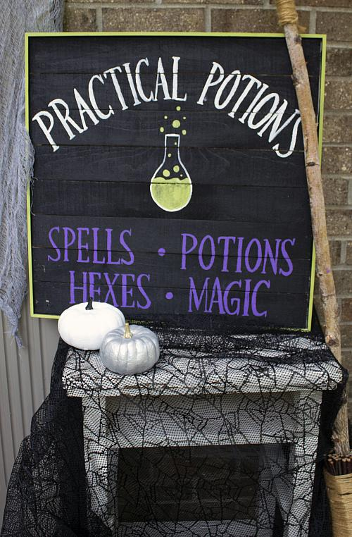 Practical Potions Halloween Sign  Project by DecoArt