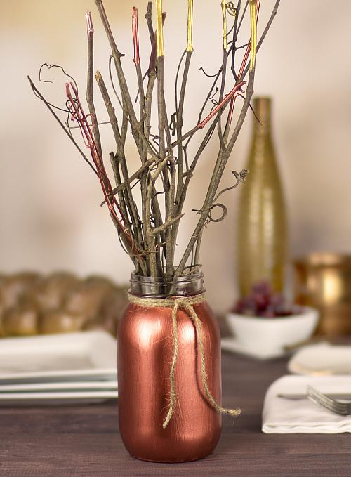 Fall Metallic Twig Centerpiece  Project by DecoArt