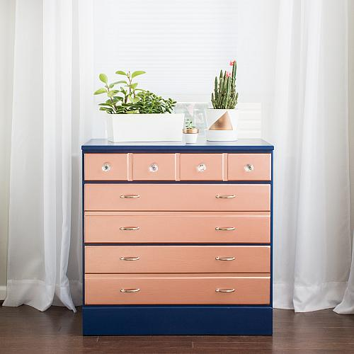 TwoToned Rose Gold Dresser  Project by DecoArt