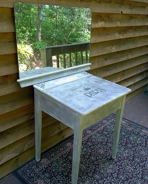 Upcycled School Desk Vanity  Project by DecoArt