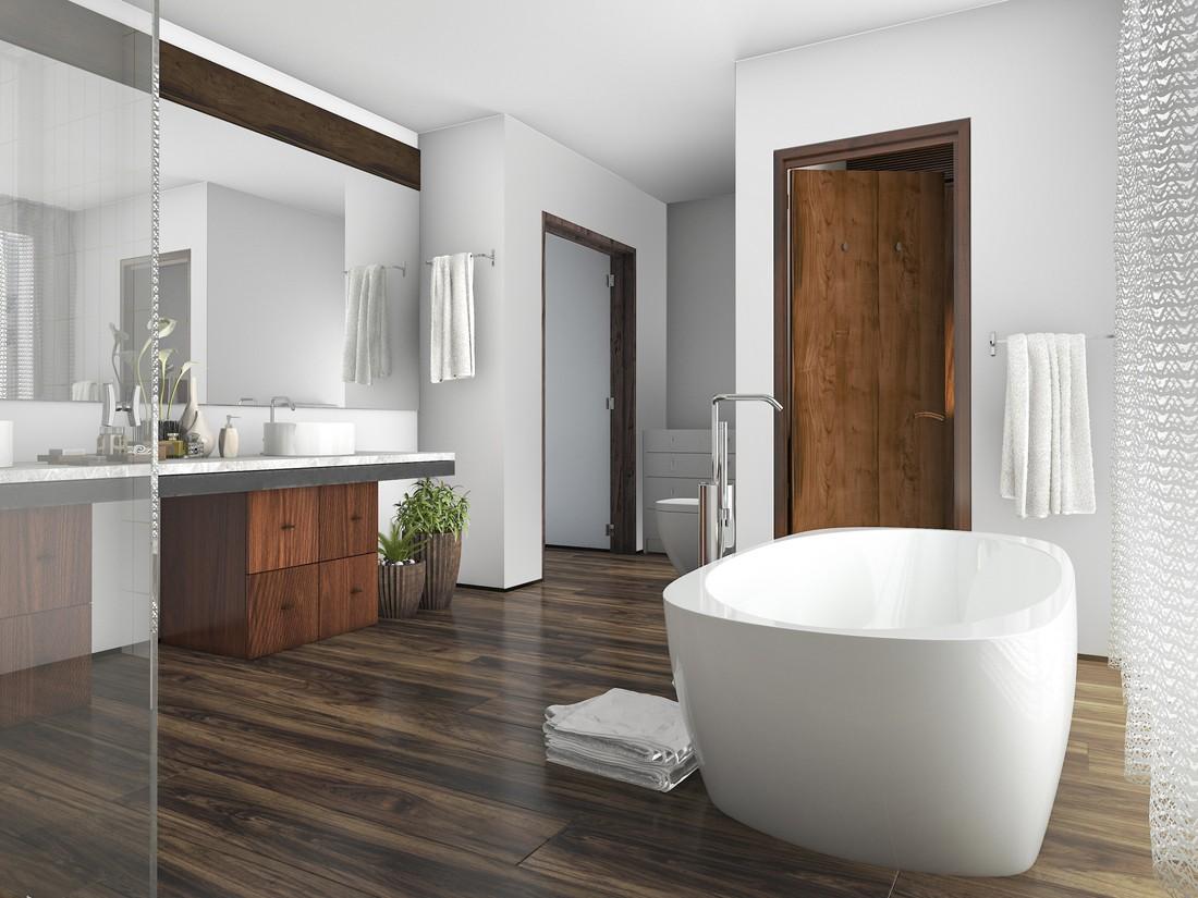 Jak zaaranżować łazienkę w drewnie?