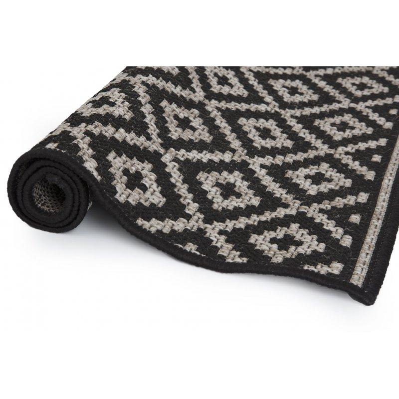 tapis 60 x 90 cm rectangulaire noir trame motif losanges gris