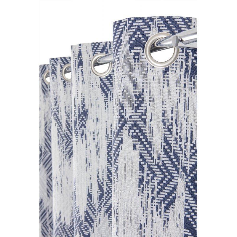 rideau tamisant 140 x 260 cm a oeillets motifs geometriques used bleu