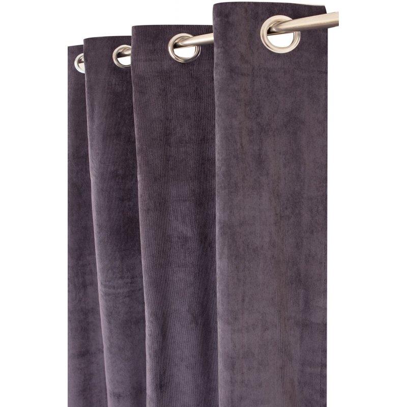 rideau tamisant 140 x 240 cm a oeillets velours ras uni bleu nuit