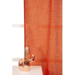 rideau tamisant 135 x 300 cm a galon fronceur et pattes cachees grande hauteur effet lin uni rouille