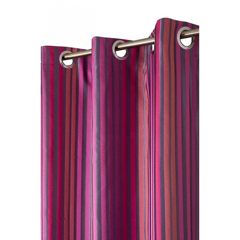 rideau 140 x 240 cm a oeillets jacquard a rayures multicolores