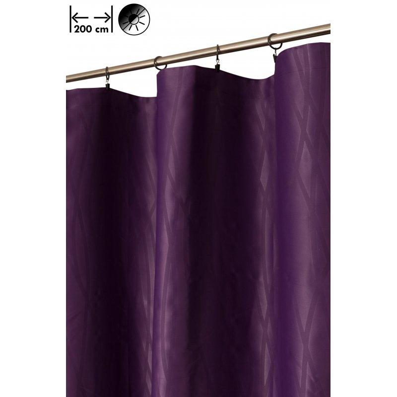 rideau occultant 200 x 270 cm a galon fronceur grande largeur motif estampille geometrique abstrait violet