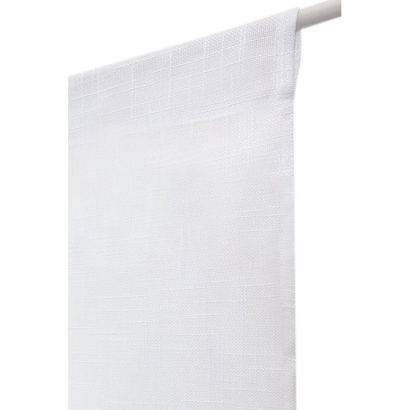paire de vitrages 60 x 180 cm passe tringle effet lin petite trame uni blancs