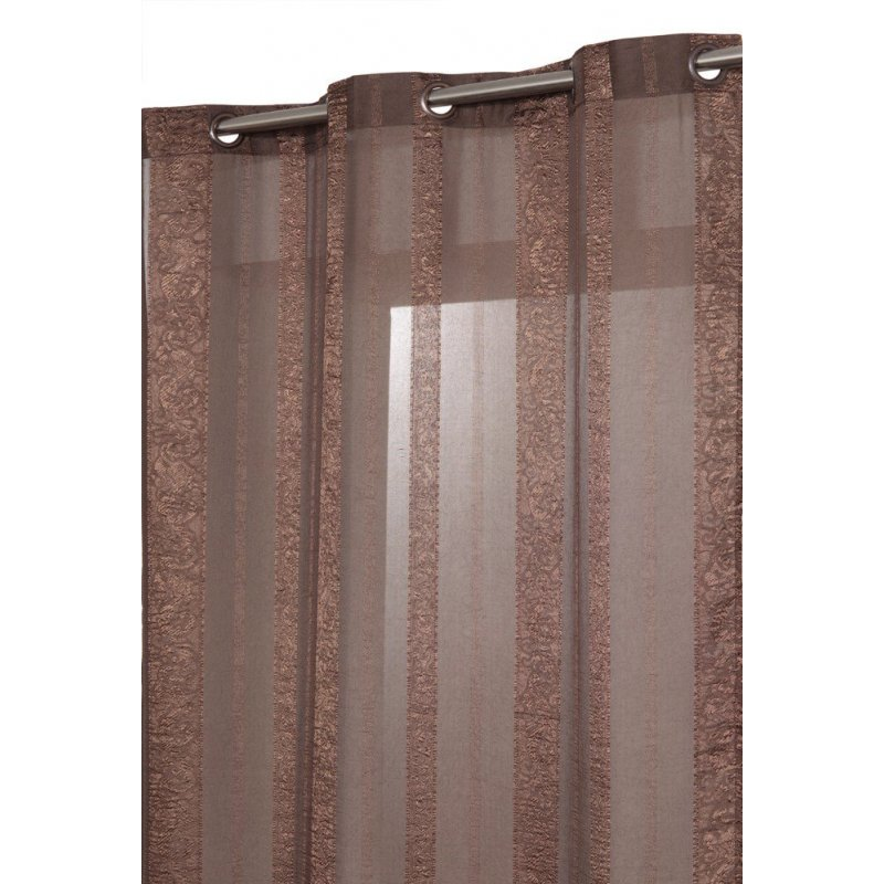 voilage 140 x 240 cm a oeillets relief effet froisse style oriental a rayures chocolat