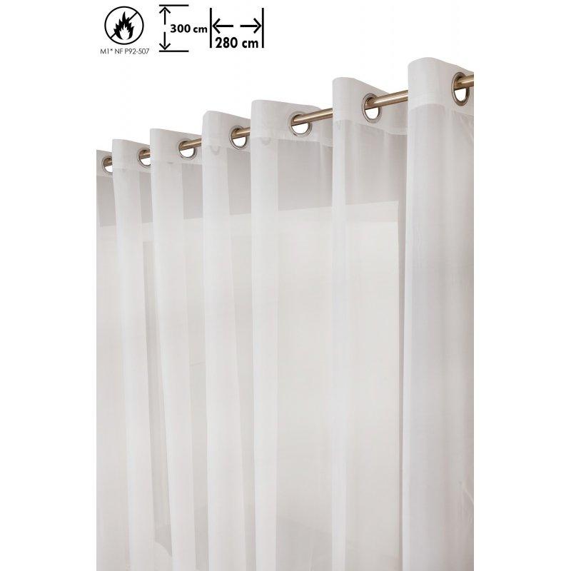 voilage 290 x 300 cm a oeillets grande largeur grande hauteur mat anti feu m1 uni blanc