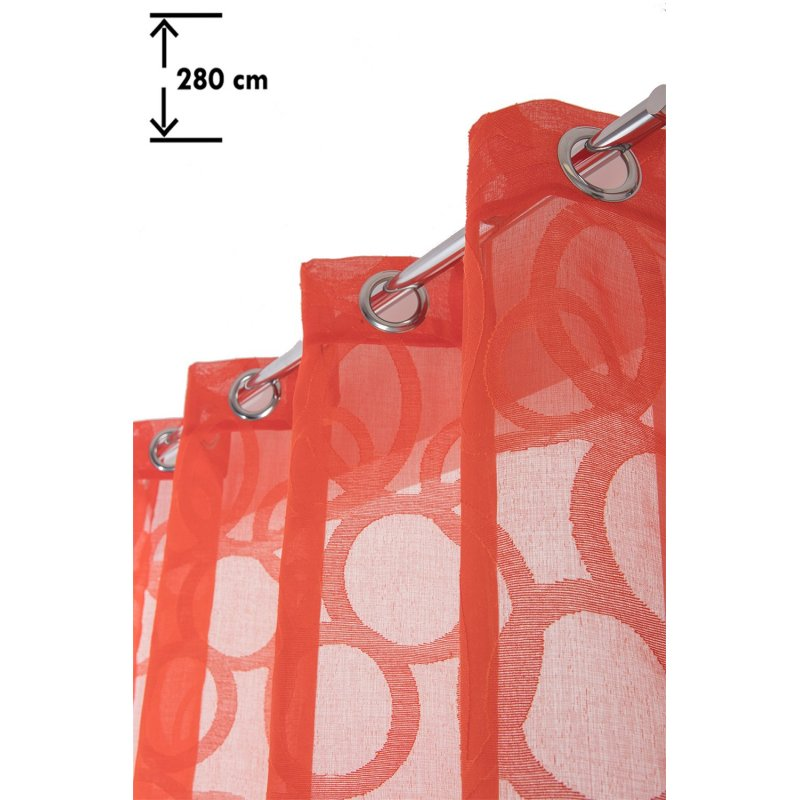 vorhang gardine original extra lang moderner stil 135 x 280 cm mit osen muster stick optik kreise blutorange