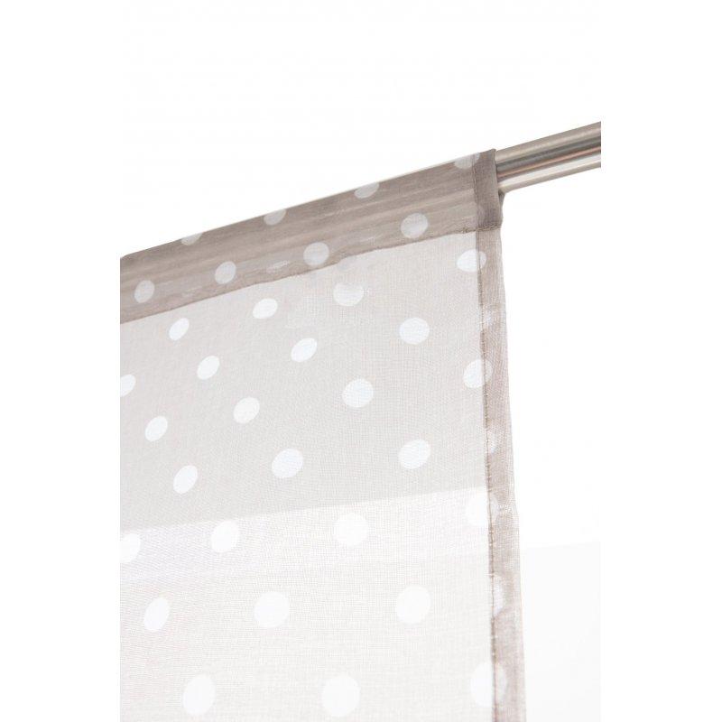 scheibengardine 80 x 160 cm stangendurchzug punktemuster bedruckt grau