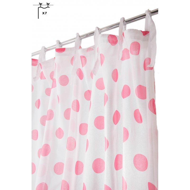 voilage chambre enfant filles 140 cm x 240 cm voile imprime a nouettes motif a pois rose