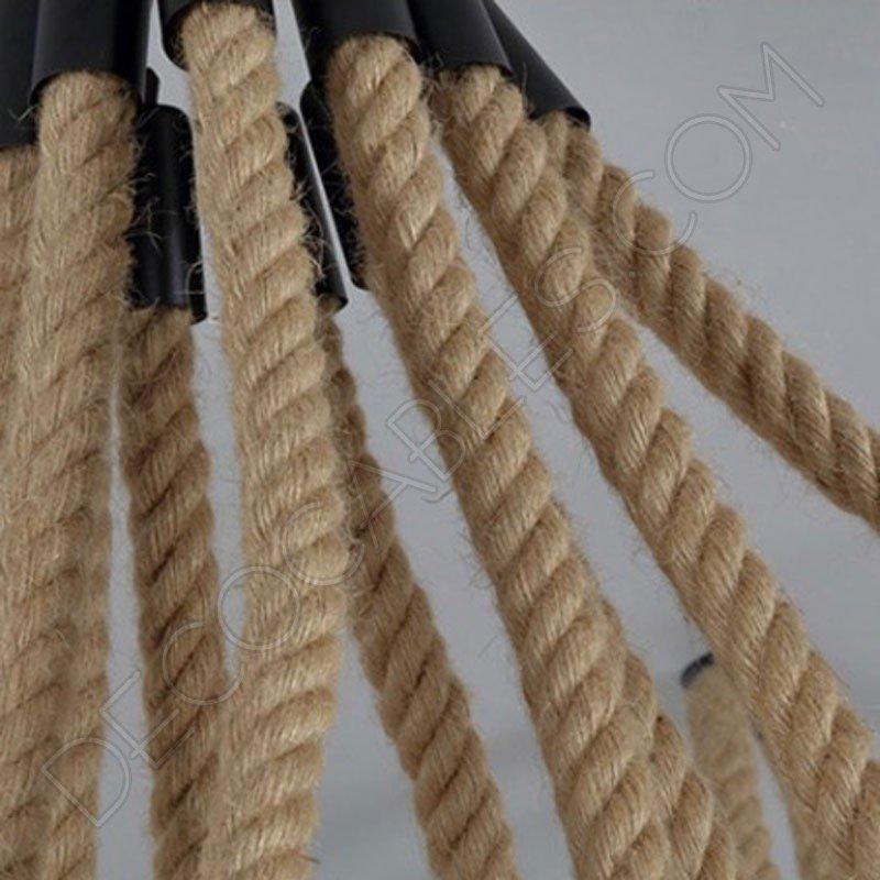 Lmpara araa de cuerda de 6 brazos estilo rstico al