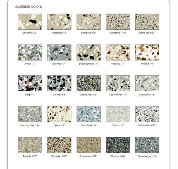 Decorative Concrete Services Epoxy Chips Color Chart