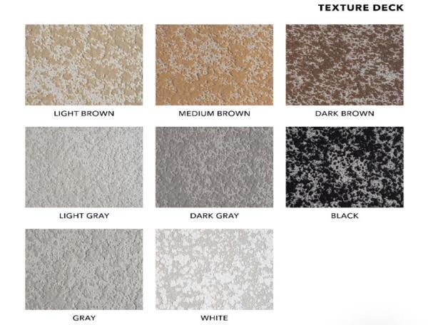 Decorative Concrete Services Cool Deck or Texture Deck Color Chart