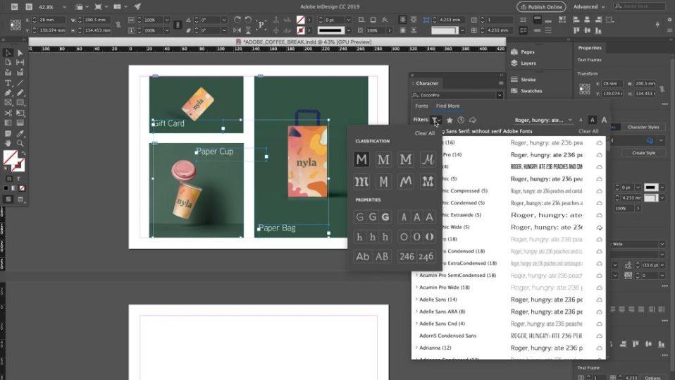 template de création d'une page sur InDesign. Toutes les fonctionnalités à porter de main. Outils pour une création professionnelle