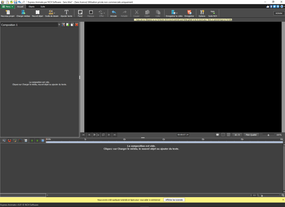 Aperçu du programme Express Animate au lancement