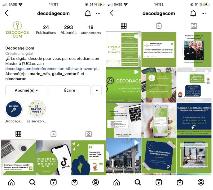 Capture d'écran Instagram de decodagecom. Conseils de communication digitale.