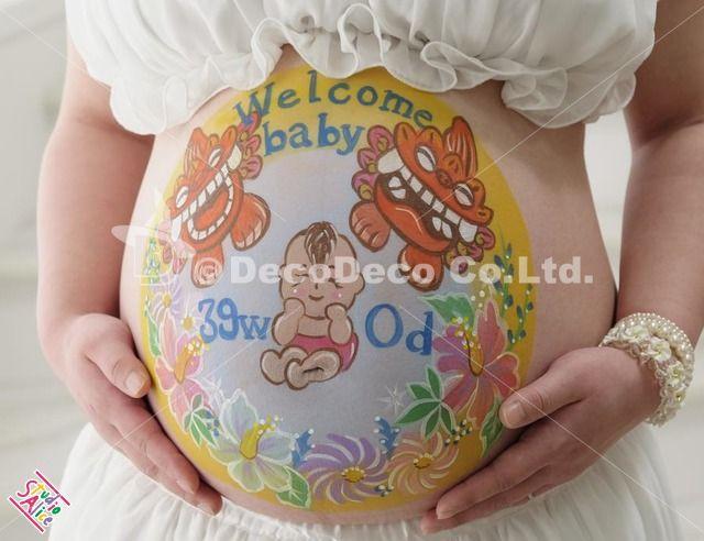 マタニティペイント「シーサーと赤ちゃん」