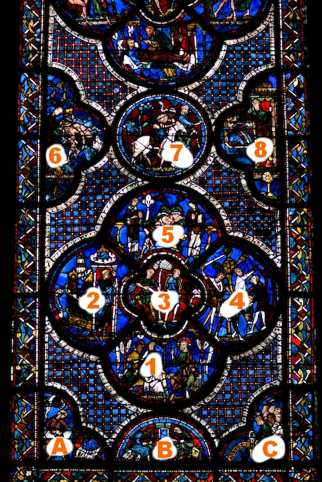 Vitrail du bon samaritain dans la cathédrale de Chartres