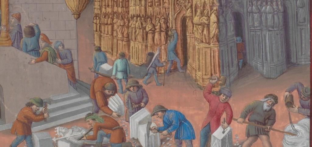 Enluminure d'un chantier médiéval