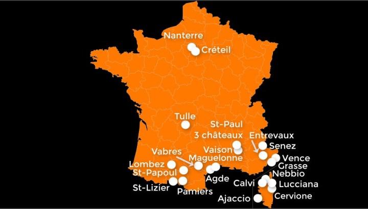Carte des plus petites cathédrales de France
